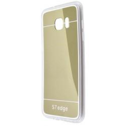 Zrkadlové gumené puzdro Samsung Galaxy S7 Edge, zlaté