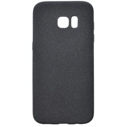 Gumené puzdro s trblietkami Samsung Galaxy S7 Edge, čierne