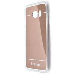 Zrkadlové gumené puzdro Samsung Galaxy S7 Edge, medené