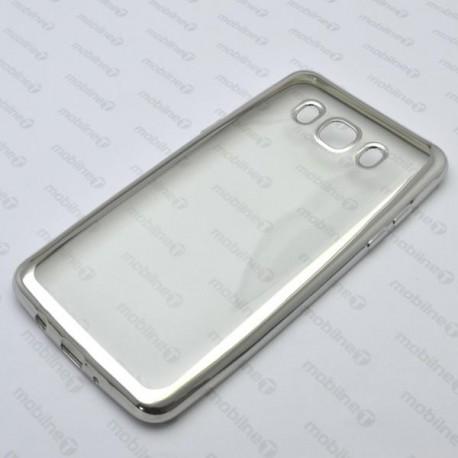 Priehľadné gumené puzdro Samsung Galaxy J5 2016, strieborný rám