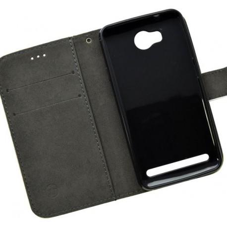 Vzorované knižkové puzdro Huawei Y3 II, čierne, vzor lebka