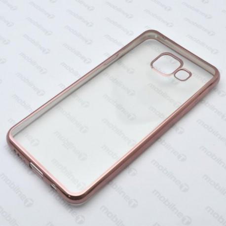 Priehľadné gumené puzdro Samsung Galaxy A3 2016, medený rám