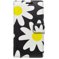 Vzorované knižkové puzdro Huawei P9 Lite, čierne, vzor kvety