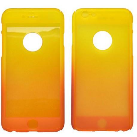 Plastové puzdro 3D a sklenená fólia iPhone 6, oranžovo-žlté