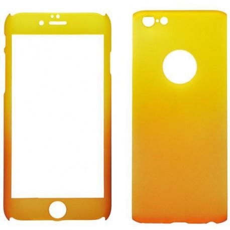 Plastové 3D puzdro s temperovaným sklom iPhone 6, oranžovo-žlté