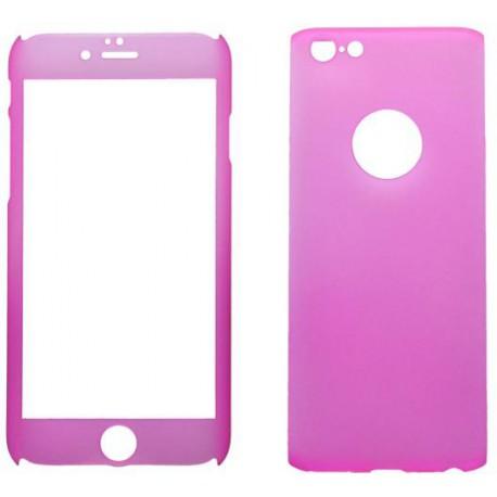 Plastové 3D puzdro s temperovaným sklom iPhone 6, ružové