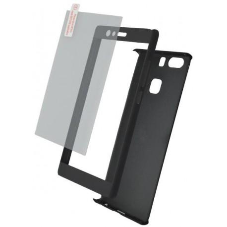 Plastové 3D puzdro s temperovaným sklom Huawei P9, čierne