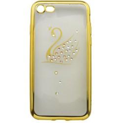 Zdobené gumené puzdro / obal iPhone 7, zlatý rám, labuť
