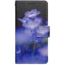 Vzorované knižkové puzdro Huawei P9, modrý kvet