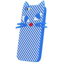 Kitten 3D Silicon púzdro pre iPhone 5 / 5S Modrá