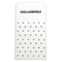 Knižkové puzdro Karl Lagerfeld pre iPhone 4, biele