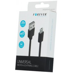 Universal micro+lightning cable black Forever
