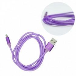 metal USB kábel na Micro USB - fialový - 1 m