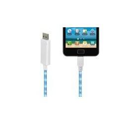 USB Flash Cable - micro USB white - biely - blikajúci datakábel