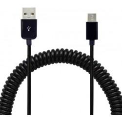 Dátový kábel USB - USB Type C, 2A, točený, 40 cm/240 cm, čierny