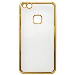 Gumené puzdro Huawei P10 Lite, priehľadné, zlatý rám