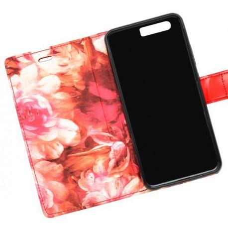 Knižkové puzdro Huawei P10, červené, bočné, vzor kvety