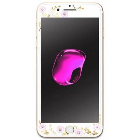 KAUARO Tempered Glass iPhone 7 Flora white