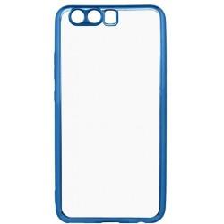 Gumené puzdro Huawei P10 priehľadné, modrý rám