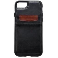 Gumové puzdro s koženkovým povrchom iPhone 8, čierne, 2x vrecko