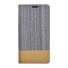 Knižkové bočné puzdro Lenovo A5000, sivé, kombinácia koža / textil