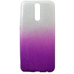 Gumené puzdro Huawei Mate 10 Lite fialové, trblietky
