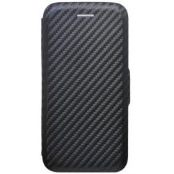 Bočné knižkové puzdro iPhone 8 čierne, karbón