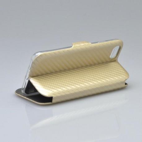 Bočné knižkové puzdro iPhone 8 zlaté, karbón