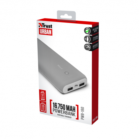 Trust powerbank 16 750 mAh Portable Charger gray
