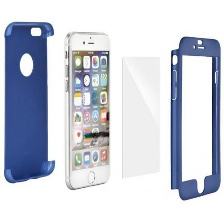 Celé silikónové púzdro + tvrdené sklo na Apple iPhone X - modré b7498a93c6b