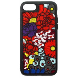 Gumené puzdro iPhone 8 (7), čierne, výšivka kvety