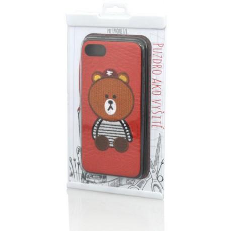 Gumené puzdro iPhone 8 (7), červené, výšivka macko