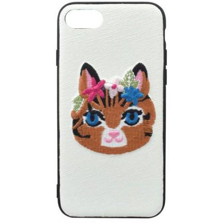 Gumené puzdro iPhone 8 (7), biele, výšivka mačka